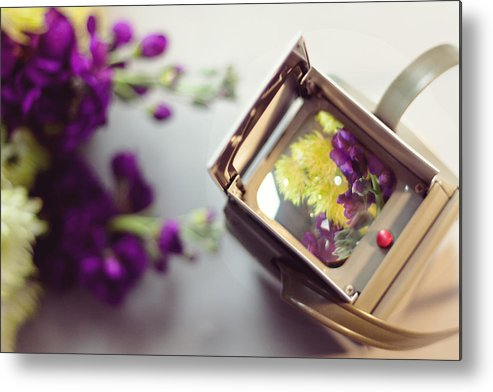 Camera Metal Print featuring the photograph Flowers Thru A Lens by Cynthia Linderbeck