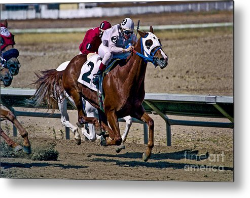 Racing Metal Print featuring the photograph Flying Hooves by Kathy McClure