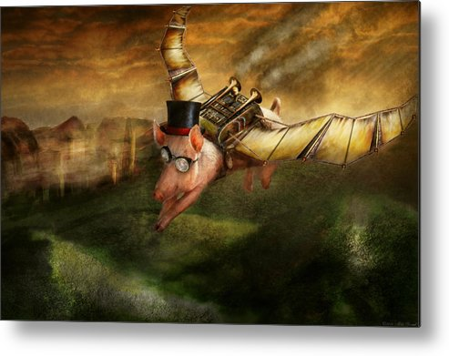 Pig Metal Print featuring the photograph Flying Pig - Steampunk - The Flying Swine by Mike Savad