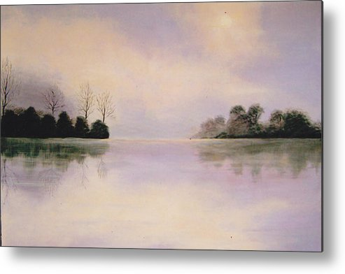 Foggy Metal Print featuring the painting Foggy Lake by Inna Bredereck