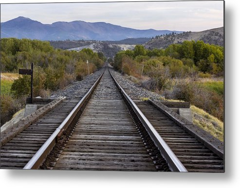 Railroad Tracks Metal Print featuring the photograph Follow Me by Dana Moyer