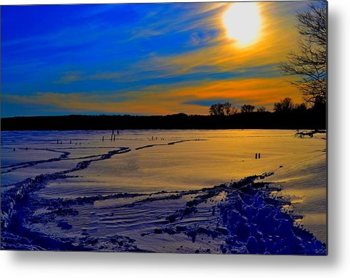 Winter Metal Print featuring the photograph Footsteps On Lake by Zafer Gurel