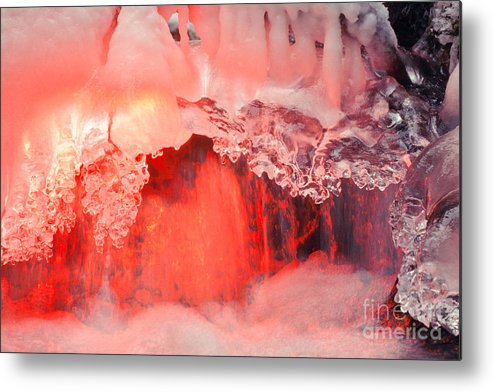 Aesthetic Metal Print featuring the photograph Freezing Waterfall Glowing In Red Light by Stephan Pietzko