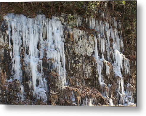 Frozen Metal Print featuring the photograph Frozen Waterfall by Mary Koval