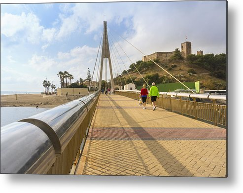 Málaga Province Metal Print featuring the photograph Fuengirola, Spain. Suspension Bridge And Castle. by Ken Welsh