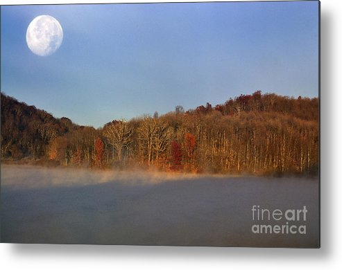 Full Moon Metal Print featuring the photograph Full Moon Big Ditch Lake by Thomas R Fletcher