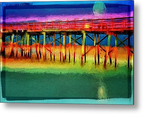 Flagler Beach Pier Metal Print featuring the photograph Full Moon In Flagler by Alice Gipson