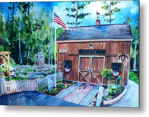 Shed Metal Print featuring the painting Gardening Shed by Scott Nelson
