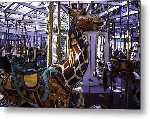 Giraffe Metal Print featuring the photograph Giraffe Carousel Ride by Garry Gay