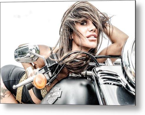 Girl Metal Print featuring the photograph Girl And Harley by Oleg Koryagin