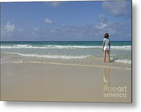 People Metal Print featuring the photograph Girl Contemplating Ocean From Beach by Sami Sarkis