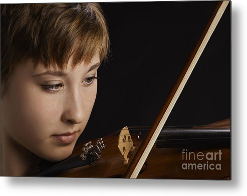 Violin Metal Print featuring the photograph Girl Musician And Violin Or Viola Photograph Color 3361.02 by M K Miller