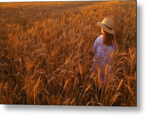 Agriculture Metal Print featuring the photograph Girl With Hat In Field by Don Hammond