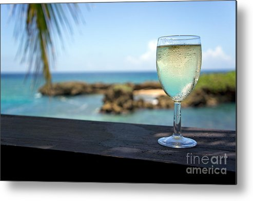 Freshness Metal Print featuring the photograph Glass Of Fresh Wine By Tropical Beach by Sami Sarkis