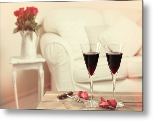 Red Metal Print featuring the photograph Glasses Of Red Wine by Amanda Elwell