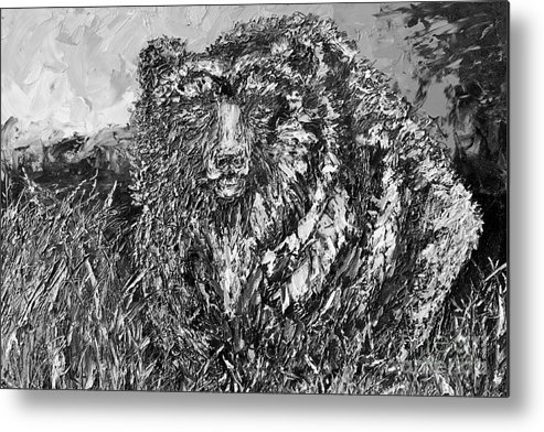 Black And White Metal Print featuring the painting Go Griz Black And White by Jodi Monahan