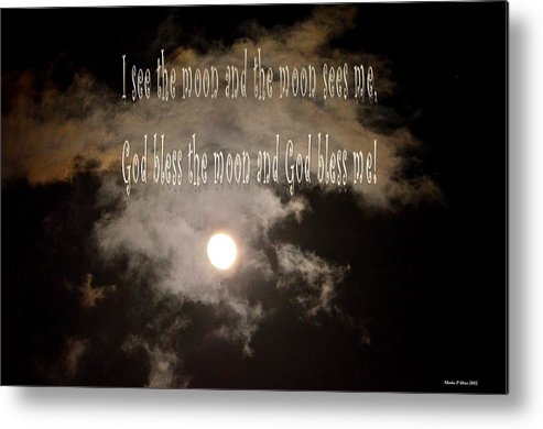 God Bless The Moon Metal Print featuring the digital art God Bless The Moon by Maria Urso