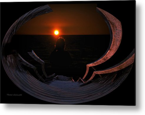 Little Planet Metal Print featuring the photograph Going Down Oval Image by Thomas Woolworth