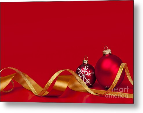 Christmas Metal Print featuring the photograph Gold And Red Christmas Decorations by Elena Elisseeva