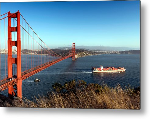 Cargo Metal Print featuring the photograph Golden Gate Bridge Scenic View In San Francisco by Carol M Highsmith