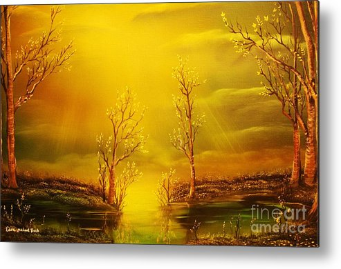 Golden Metal Print featuring the painting Golden Rays-original Sold-buy Giclee Print Nr 35 Of Limited Edition Of 40 Prints by Eddie Michael Beck