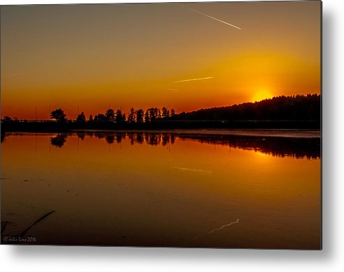 Sundown Metal Print featuring the photograph Golden Reflections On Sunset by Julis Simo
