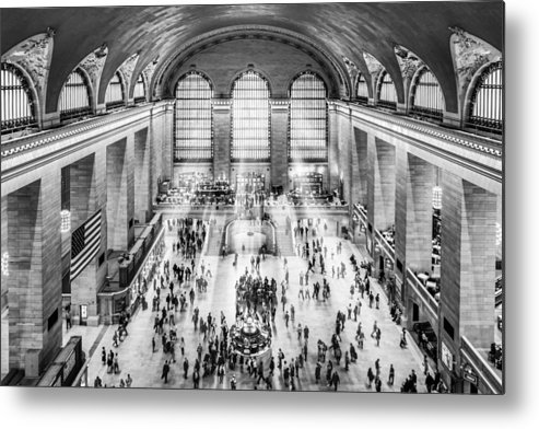New York City Metal Print featuring the photograph Grand Central Terminal Birds Eye View I Bw by Susan Candelario