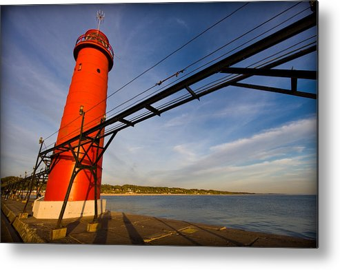 3scape Photos Metal Print featuring the photograph Grand Haven Lighthouse by Adam Romanowicz