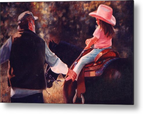 Cowboys Metal Print featuring the painting Granpa And Me by Dale Estka