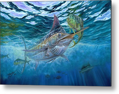Blue Marlin Metal Print featuring the painting Great Blue And Mahi Mahi Underwater by Terry Fox