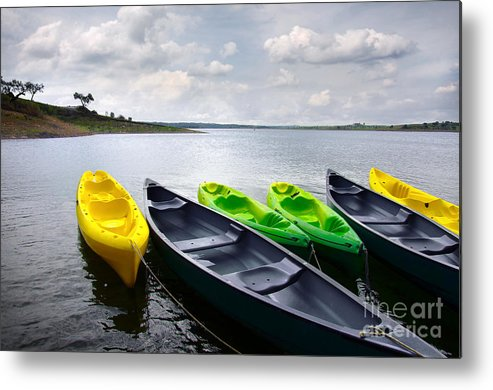 Activity Metal Print featuring the photograph Green And Yellow Kayaks by Carlos Caetano