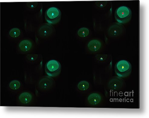 Candles Metal Print featuring the photograph Green Candles by Tina M Wenger