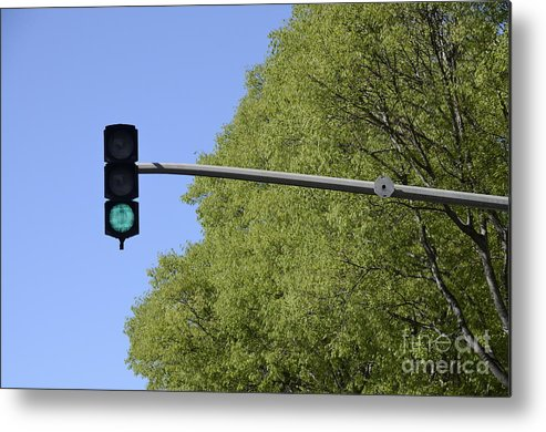 Authority Metal Print featuring the photograph Green Traffic Light By Trees by Sami Sarkis