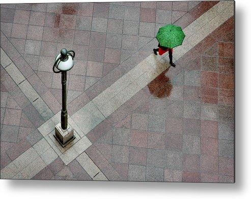 Street Metal Print featuring the photograph Green Umbrella by Aleksandar Tomulic