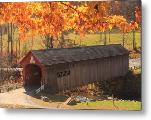Covered Bridge Metal Print featuring the photograph Guilford Vermont Covered Bridge by John Burk
