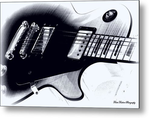Bayou Metal Print featuring the photograph Guitar - Black And White by Travis Truelove