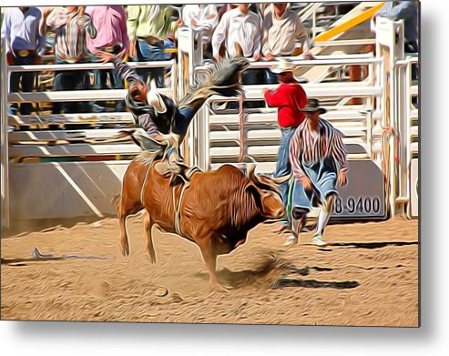 Bullrider Metal Print featuring the photograph Hangin' On by Michael Biggs