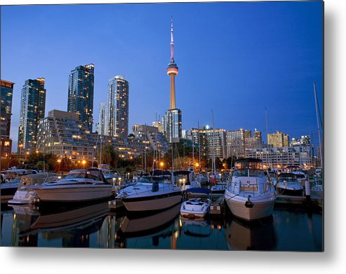 Light Metal Print featuring the photograph Harbourfront Marina West At Dusk by Peter Mintz
