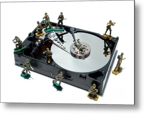 Computer Metal Print featuring the photograph Hard Drive Defense by Olivier Le Queinec