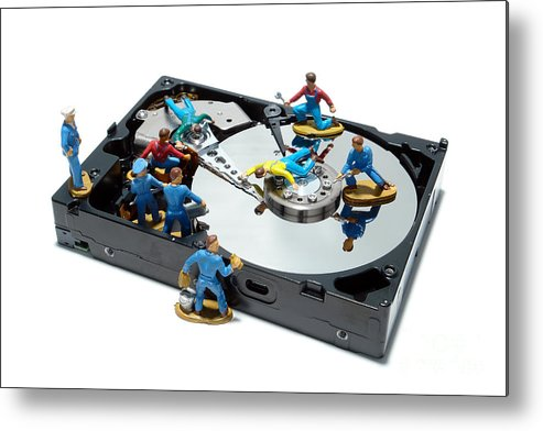 Computer Metal Print featuring the photograph Hard Drive Maintenance by Olivier Le Queinec