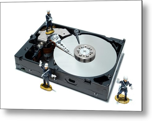 Computer Metal Print featuring the photograph Hard Drive Security by Olivier Le Queinec
