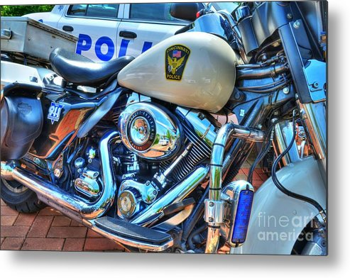 Motorcycles Metal Print featuring the photograph Harleys In Cincinnati 2 by Mel Steinhauer