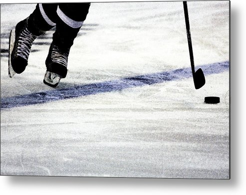 Hockey Metal Print featuring the photograph He Skates by Karol Livote