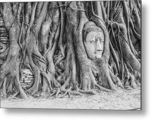 Ancient Metal Print featuring the photograph Head Of Sandstone Buddha by Anek Suwannaphoom
