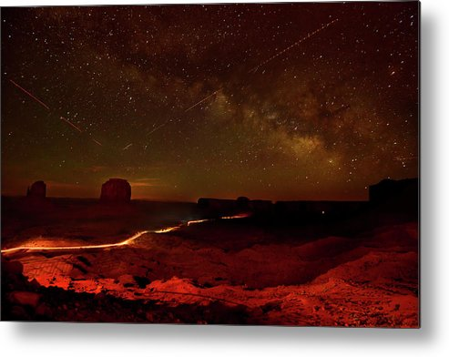 Color Image Metal Print featuring the photograph Headlights And Buttes In Monument by Raul Touzon