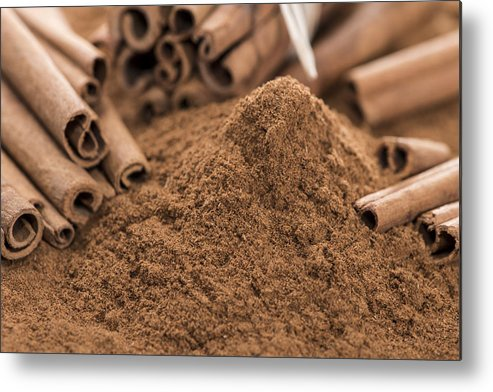 Cinnamon Metal Print featuring the photograph Heap Of Cinnamon by Handmade Pictures