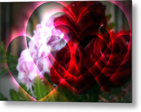 Abstract Metal Print featuring the photograph Hearts A Fire by Kay Novy
