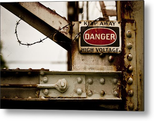 Danger Metal Print featuring the photograph High Voltage by Richard ONeil