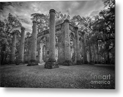 Metal Print featuring the photograph Historic Sheldon Church 4 Bw by Carrie Cranwill