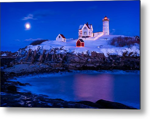 Cape Neddick Metal Print featuring the photograph Holiday Moon by Michael Blanchette